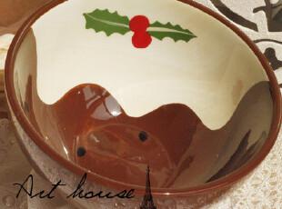 出口欧美外贸手绘陶瓷波点咖啡色碗 面条碗 饭碗 汤碗 陶瓷泡面碗,碗盆,