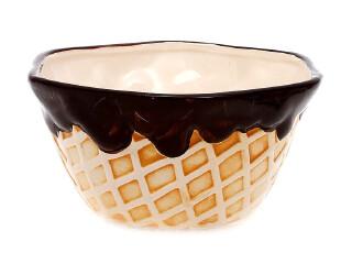 2.22草莓半塘 甜美华夫饼干奶油巧克力冰淇淋碗4344 0.4kg,碗盆,