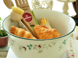 winterberry 红雀系列超大号陶瓷碗.可做果盆/收纳/花盆使用,碗盆,