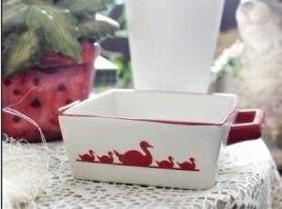 【A grass】外贸陶瓷 磨砂方款双耳碗、零食碗!,碗盆,