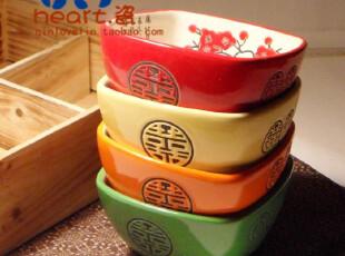 景德镇日式和风梅花烙印4色彩米饭碗木质礼盒餐具套装碗,碗盆,