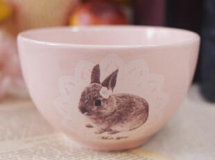 Z&M日本森系ZAKKA杂货店-粉红色蕾丝兔子陶瓷碗,碗盆,