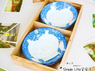 大窑烧青花瓷手绘可爱小猪陶瓷碗4件套装,碗盆,