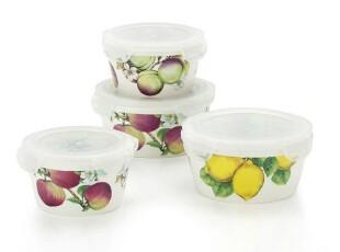 代购 意大利品牌ICC HOME 地中海系列水果陶瓷密封碗4件套,碗盆,