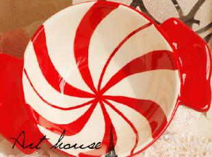 出口欧美外贸手绘陶瓷双耳碗 红色面条碗 汤碗 饭碗 陶瓷碗 卡通,碗盆,