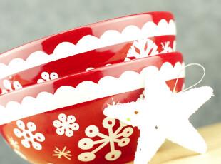 中秋节礼物 陶瓷釉下彩手绘 雪花系列厨房用品 生日礼物 雪花小碗,碗盆,