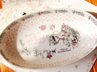 ZM日本森系ZAKKA杂货店-粉色椭圆型爱丽丝陶瓷碗日本制,碗盆,