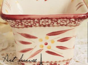 出口欧美手绘田园小碎花方碗 面碗 粥碗 汤碗 菜碗 泡面碗收纳盆,碗盆,