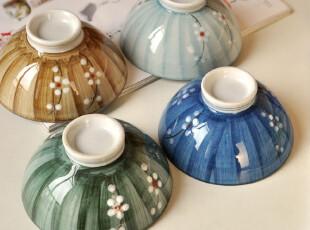 古朴の食器.和风小樱花.手彩浅口陶瓷碗.米饭碗.4枚入荷.2012新款,碗盆,
