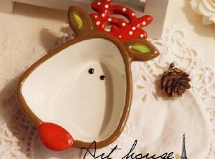 出口欧美 圣诞鹿手绘浮雕陶瓷收纳盆 可爱卡通陶瓷小盆 出口尾单,碗盆,