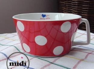韩国订单 清新水玉田园风 带把汤碗 汤杯 面碗,碗盆,