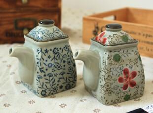日式出口陶瓷餐具zakka山田烧 和风青花调味瓶 酱油瓶 醋瓶 特价,碗盆,