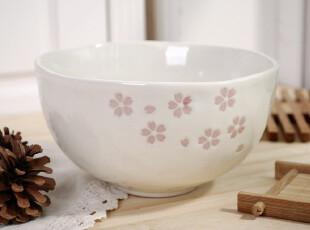 日式和风陶瓷餐具 出口外贸 可爱樱花米碗 饭碗 汤碗 手造の碗,碗盆,