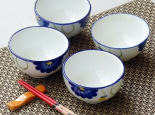 特惠!出口陶瓷 手绘釉下彩 景德镇陶瓷餐具 小碗 饭碗 粥碗,碗盆,