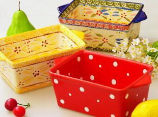 外贸手绘陶瓷餐具 烤箱微波炉烘焙模具 欧洲田园风格烤碗 沙拉碗,碗盆,