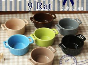 zakka杂货 双耳陶瓷圆形小碗 布丁碗 冰欺凌碗 烘焙陶瓷,碗盆,