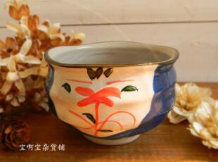 日式 zakka 和风手绘 蓝湖红水草 水螺纹 花瓣口碗,碗盆,