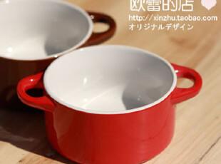 甜品碗/冰激凌碗/陶瓷碗/甜品碗/双耳奶锅/圆形带把手碗zakka杂货,碗盆,