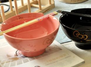 hello kitty 日式陶瓷情侣大泡面碗汤碗-24K金.2色(配盒.筷),碗盆,