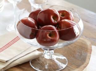美国原单-高品质无汞无铅超纯净高脚玻璃装饰碗 沙拉碗 水果碗,碗盆,