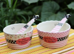 【A grass瑕疵】外贸陶瓷*甜蜜的味道*小碗勺套装(大小2款可选),碗盆,