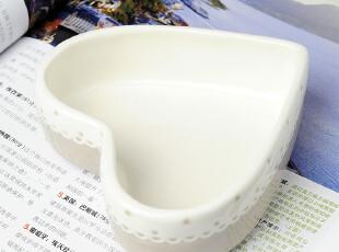 灰色浮雕花边心形零食碗,碗盆,