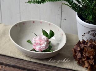 Bao ZAKKA 杂货 和风愈系 桃红点 椭圆 盆 果盆,碗盆,