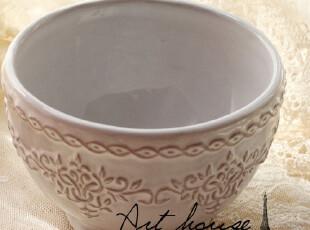 出口欧美星巴克风复古浮雕花纹陶瓷碗 拉面碗 粥碗 汤碗 菜碗饭碗,碗盆,