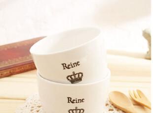 zakka日单杂货 陶瓷皇冠汤碗  简约皇冠白瓷汤碗 冰激凌碗 甜品碗,碗盆,