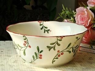 清新森女范儿/法式乡村陶瓷餐具/庭前笑圆形波浪果盆/汤盆,碗盆,
