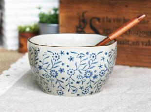 千度悠品 日式 陶瓷 餐具 碗 青花 红花 小四方 米饭小碗 小汤碗,碗盆,