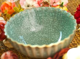 「龙泉青瓷」哥窑开片裂纹青莲餐碗 官窑正品 中式家居装饰品摆件,碗盆,