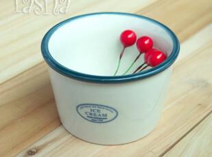 塔莎家 zakka 日式 蓝边 冰淇淋碗 陶瓷碗,碗盆,