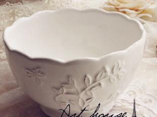 出口欧美星巴克风浮雕复古白色汤碗 面碗 饭碗 面条碗 陶瓷碗小号,碗盆,