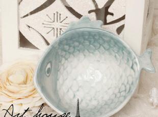 出口欧美手绘田园风浮雕陶瓷鱼形碗 小菜碗  外贸原单尾单 Zakka,碗盆,