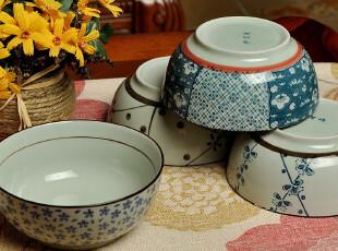 F1172日式 和风 青花云祥 广口碗陶瓷碗套装礼盒 4个入,碗盆,
