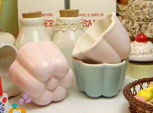 zakka  出口韩国 外贸陶瓷 花形冰碗/雪糕碗/布丁碗(2色),碗盆,