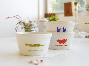 多米Zakka 陶瓷动物刻度碗 量碗 宝宝饭碗 冰淇淋碗,碗盆,