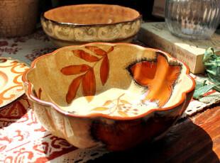 【A grass】外贸手绘陶瓷 手绘复古风格花卉餐碗\汤碗!,碗盆,