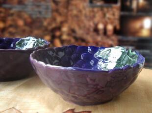 高温釉变陶瓷 餐具 饭碗 点心碗 零食碗 紫色葡萄 浮雕碗 怀旧款,碗盆,