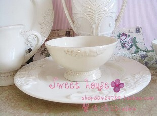 法式浪漫希腊陶瓷西餐汤饭沙拉盘象牙白浮雕作旧复古蝴蝶花高脚碗,碗盆,
