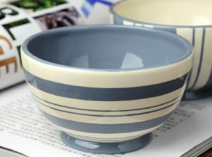 蓝色地中海 欧式简约 横条纹碗 餐具家居用品,碗盆,