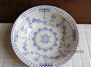 FEN ZAKKA 杂货 出口日本原单 蓝花陶瓷碗 西式汤碗五件套,碗盆,