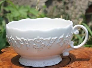 【A grass】外贸陶瓷立体浮雕巴洛克纯白 欧式做旧 带把大碗 大杯,碗盆,