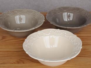工厂成本清仓-外单瑕疵品厚重浮雕沙拉碗 大号 可做拍照用,碗盆,