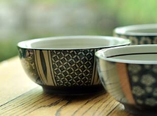 F2036  九木和风 日式兰彩 樱花纹 陶瓷碗套装礼盒 4个入,碗盆,