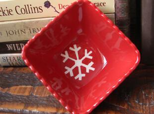 外贸陶瓷出口餐具手绘喜庆红描线雪后小屋餐碗\零食碗!,碗盆,