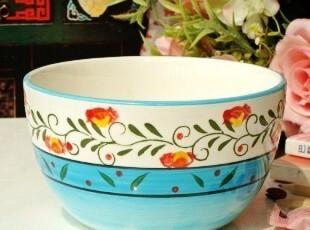 法式乡村田园手绘陶瓷餐具/清新蔷薇花蓝色餐碗/沙拉碗/汤碗/面碗,碗盆,