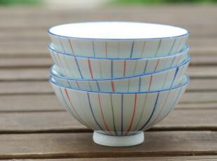 ZAKKA 日式和风手绘条纹陶瓷碗 米饭碗 陶瓷餐具,碗盆,