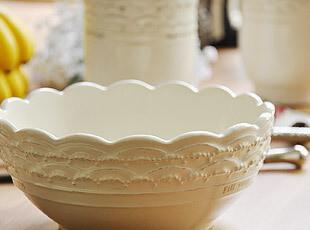 复古 田园 浮雕白色 陶瓷 碗 轻微掉瓷 特惠,碗盆,